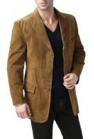 BGSD Men's Robert 3-Button Suede Leather Blazer (Regular Big & Tall and Short)
