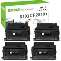 Aztech Compatible Toner Cartridge Replacement for HP 81X CF281X 81A CF281A Laserjet Enterprise MFP M605 M604 Toner M605n M605dn M605x M606 M606n M630 M630h M630dn M630z M632 Printer (Black, 4-Pack)