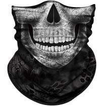 Obacle Skull Face Mask for Women Men Dust Wind Sun Protection Seamless Bandana Face Mask for Rave Festival Motorcycle Riding Biker Fishing Hunting Outdoor Running Tube Mask Multifunctional Headwear