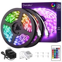 Onforu 65.6ft RGB LED Strip Lights Kit, 20m Color Changing Dimmable Rope Lights, 5050 RGB Multi Colored LED Tape Light with 24V Power Supply for Party, Bedroom, Living Room, Non-Waterproof
