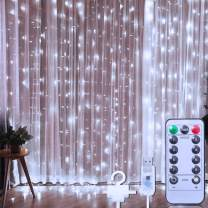 TURNMEON 300 Led Curtain String Light Decorations, 10 Ft Usb Fairy Lights Curtain Lights Waterproof 8 Light Modes Remote Control Holiday Decorations Home Bedroom Wall Outdoor Indoor (Cold White)