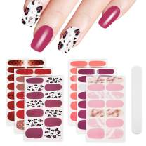 6 Sheets Full Nail Wraps Art Polish Stickers Decal Strips Adhesive False Nail Design Manicure Set With 1Pc Nail Buffers FilesFor Women Girls- Pink Flamingo Style