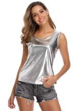 Anienaya Women's Shiny Top Sleeveless U Neck Stretchy Metallic Sparkle Shimmer Camisole Tank Vest for Party Clubwear