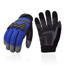 Vgo Premium Soft Genuine Deerskin Split Leather Touchscreen Anti-Vibration Medium Duty Work Gloves for Construction, Rigger Glove(Size L, Blue, DB9703)