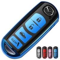 Uxinuo for Mazda Key Fob Cover Compatible with Mazda 3 6 8 Miata MX-5 CX-3 CX-5 CX-7 CX-9 Smart Remote 4-Buttons, Premium Soft TPU 360 Degree Full Protection Key Fob Case, Blue