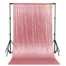 4FTx7FT-Fuchsia Pink-Sequin Backdrop, Shimmer Sequin Fabric Photography Backdrops Sequin Curtain for Wedding/Party (Shiny Pink)