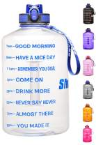 1 Gallon Water Bottle with Motivational Time Marker, Large 128oz Reusable Leak-Proof Fitness Sports Water Bottle,BPA Free Wide Mouth Drinking Water Jug for Running, Fitness, Camping, Hiking Outdoor
