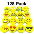 OHill Pack of 128 Pack Emoji Pencil Erasers 16 Emoticons Novelty Erasers for Party Favors School Classroom Prizes Rewards