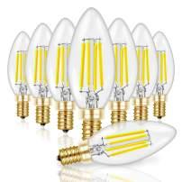 Hizashi 8 Pack 650 Lumen 5000K 6W Fully Dimmable LED Candle Light Bulbs, 90+ CRI 60W Equivalent E12 Deep Dimming B10 LED Filament Candelabra Bulbs Retro Shape, UL Listed