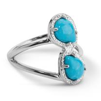Carolyn Pollack Sterling Silver Turquoise Gemstone Two Stone Ring - Choice of Gemstones