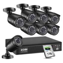ZOSI H.265+1080p Home Security Camera System Outdoor Indoor, 1080p Lite CCTV DVR Recorder 8 Channel with Hard Drive 1TB and 8 x 1080p Surveillance Bullet Camera, Remote Control, Motion Detection