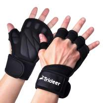 Trideer Ventilated Weight Lifting Gloves, Gym Gloves, Workout Gloves with Extra Wrist Wraps Support, Exercise Gloves for Pull ups, Powerlifting, Cross Training for Men & Women