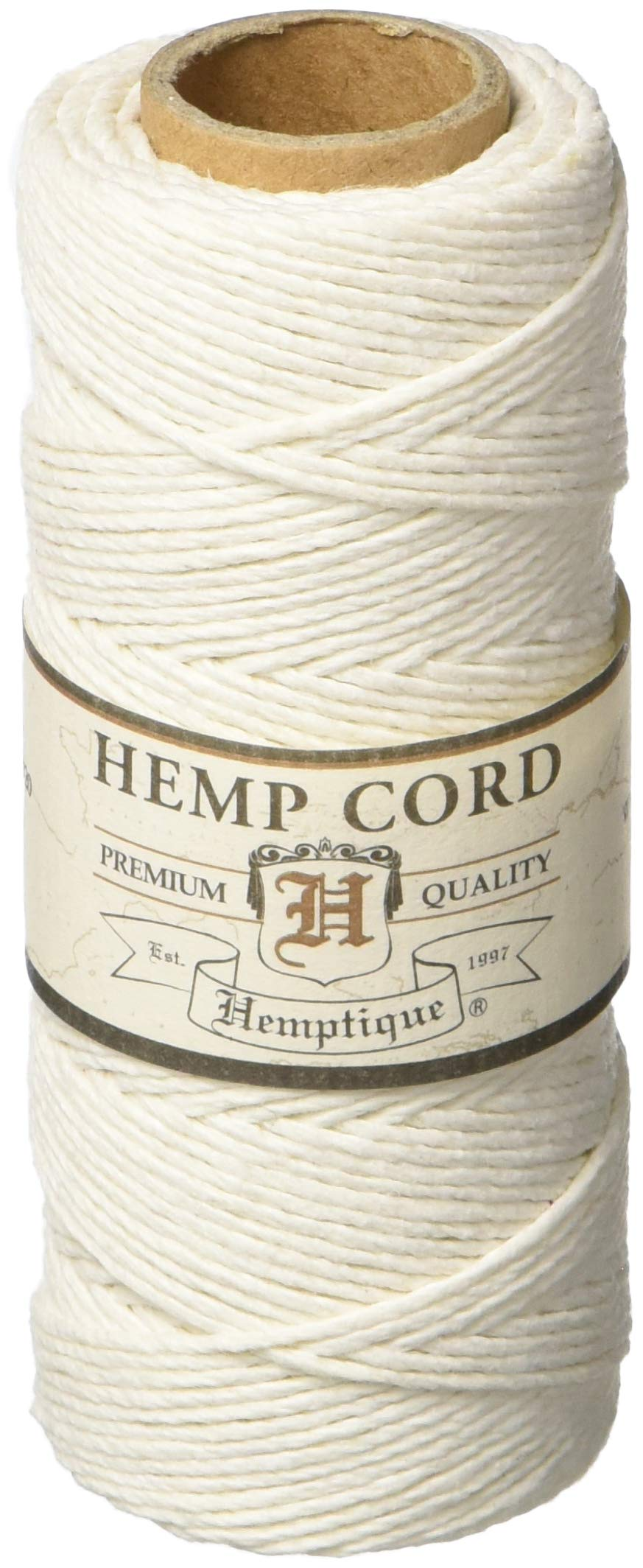 Hemptique 100% Hemp Cord Spool - 62.5 Meter Hemp String - Made with Love - No. 20 ~ 1mm Cord Thread for Jewelry Making, Macrame, Scrapbooking, DIY, & More - White