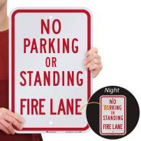 "SmartSign ""No Parking or Standing - Fire Lane"" Sign 