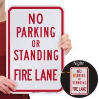 "SmartSign ""No Parking or Standing - Fire Lane"" Sign | 12"" x 18"" 3M Engineer Grade Reflective Aluminum"