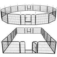 Yaheetech 31''W x 24''H Foldable Pet Pen - Metal Dog Pen Puppy Cat Exercise Fence Barrier Kennel 16 Panels/32 Panels