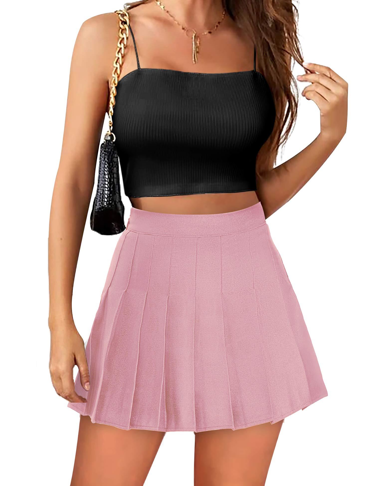 Womens Mini Pleated Skirt High Waisted Skater Tennis Skirts Skorts with Shorts School Girl Uniform