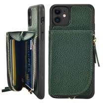 LAMEEKU Wallet Case for iPhone 11, Leather Zipper Case with Card Holder Credit Card Slot Wrist Strap, Shockproof Protective Cover Case Compatible for iPhone 11 6.1'' 2019 - Midnight Green