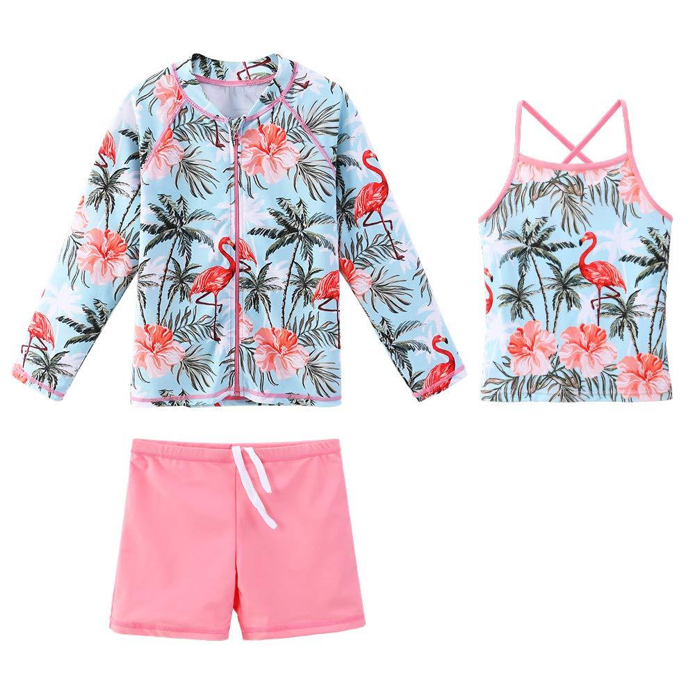 Girls Long Sleeve Swimsuits Rashguard 3 Pcs Sun Protective UV 50+ Zipper Swimwear