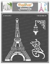 CrafTreat Eiffel Tower Stencils for painting on Wood, Canvas, Paper, Fabric, Floor, Wall and Tile - Paris Stencil - 6x6 Inch - Reusable DIY Art and Craft Stencils for Home Decor - Paris France Stencil