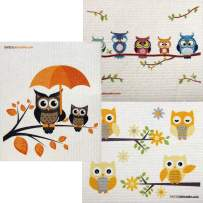 Mixed Owls Set of 3 Cloths (One of Each Design) Swedish Dishcloths   ECO Friendly Absorbent Cleaning Cloth   Reusable Cleaning Wipes