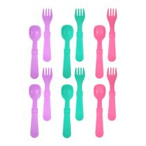 RE-PLAY Made in The USA 12pk Fork and Spoon Utensil Set for Easy Baby, Toddler, and Child Feeding in Purple, Aqua and Bright Pink | Made from Eco Friendly Heavyweight Recycled Milk Jugs | (Sparkle)