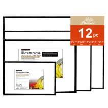 PHOENIX Black Painting Canvas Panel Boards Multi Pack - 3 Pack Each of 5x7, 8x10, 9x12, 11x14 Inch (12 pcs in Total) - 1/8 Inch Deep Artist Canvas for Oil & Acrylic Paint, Collages, Advertising Poster & Decorating Projects
