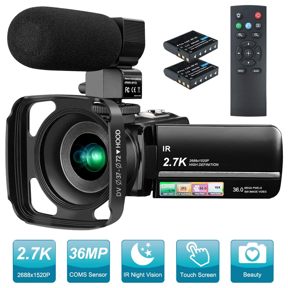 Video Camera 2.7K Camcorder Night Vision with External Microphone Touch Screen Video Recorder for YouTube Camera 36MP Time-Lapse,Slow Motion,Remote Control
