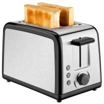 2 Slice Toaster, CUSINAID Brushed Stainless Steel Toasters with 2 Extra-Wide Slots, Top Rated Best Prime Toaster, Warming Rack with Pop Up Reheat Defrost Functions, Removable Crumb Tray