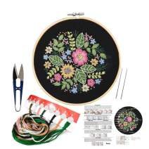 Full Set of Hand Made Embroidery Starter Kit with Partten Including Embroidery Cloth,Bamboo Embroidery Hoop, Color Threads, and Tools Kit for Beginner