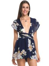 Women's Chiffon Deep V Neck Floral Back Cross Tie Waist Playsuit