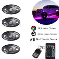 NBWDY 9W RGB Led Rock Lights With 4Key RF & IR RGB Controller,18 Color Jump,Vioce Control for Off Road, Truck,SUV,ATV, Motorcycle
