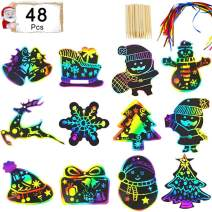 Rainbow Scratch Paper - 48 Pcs Christmas Scratch Paper Christmas Art Ornaments Kids Christmas Crafts for DIY Decorations with Snowflake, Snowman, Christmas Tree, Santa and More