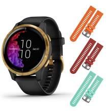 Garmin Venu GPS Smartwatch with AMOLED Display and Included Wearable4U 3 Straps Bundle (Black/Gold, Orange/Red/Teal)