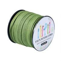 Pandahall 98Yard 90m/roll 3x1.4mm Faux Suede Cord String Leather Lace Beading Thread Suede Lace Double Sided with Roll Spool 295feet YellowGreen
