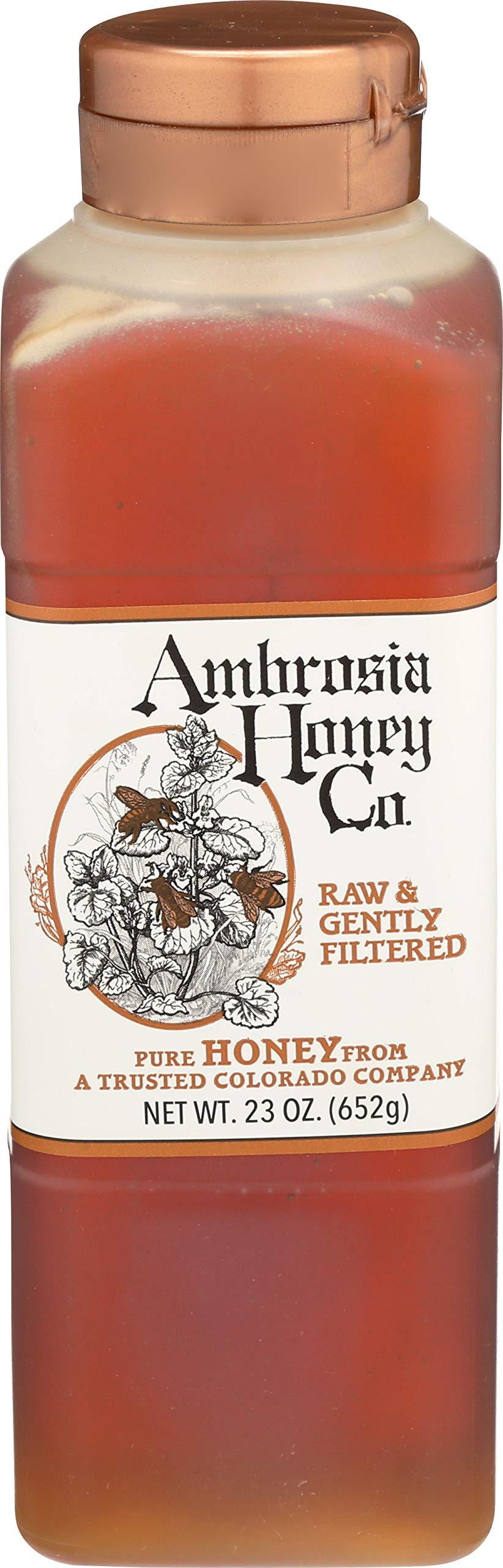 AMBROSIA HONEY CO. Gently Strained Honey, 23 oz. Bottle (Pack of 4) | Natural Sweetener, Sugar Alternative | 100% Pure Honey | US Honey | Liquid Sweetener