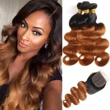 Feelgrace Ombre Bundles with Closure (4x4 Free Part) Ombre 1B 30 Body Wave Human Hair 3 Bundles with Closure 100% Brazilian Hair Weave Closure with 3 Bundles 350 Gram Total (8 8 8 with 8)