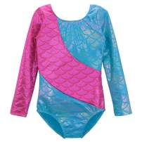 Gymnastics Leotards for Girls Long Sleeve Colorful Ribbons Mermaid for Girls 2-11 Years