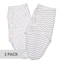 Ely's & Co Swaddle Blanket Adjustable Infant Baby Wrap Set 2 Pack Grey Chevron and Polka Dots (0-3 Months)
