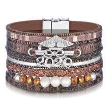 M MOOHAM 2020 Graduation Gifts for Her, Inspirational Graduation Leather Wrap Bracelet with She Believed She Could So She Did, High School College Graduation Gifts for Her Daughter, Friends, Sister