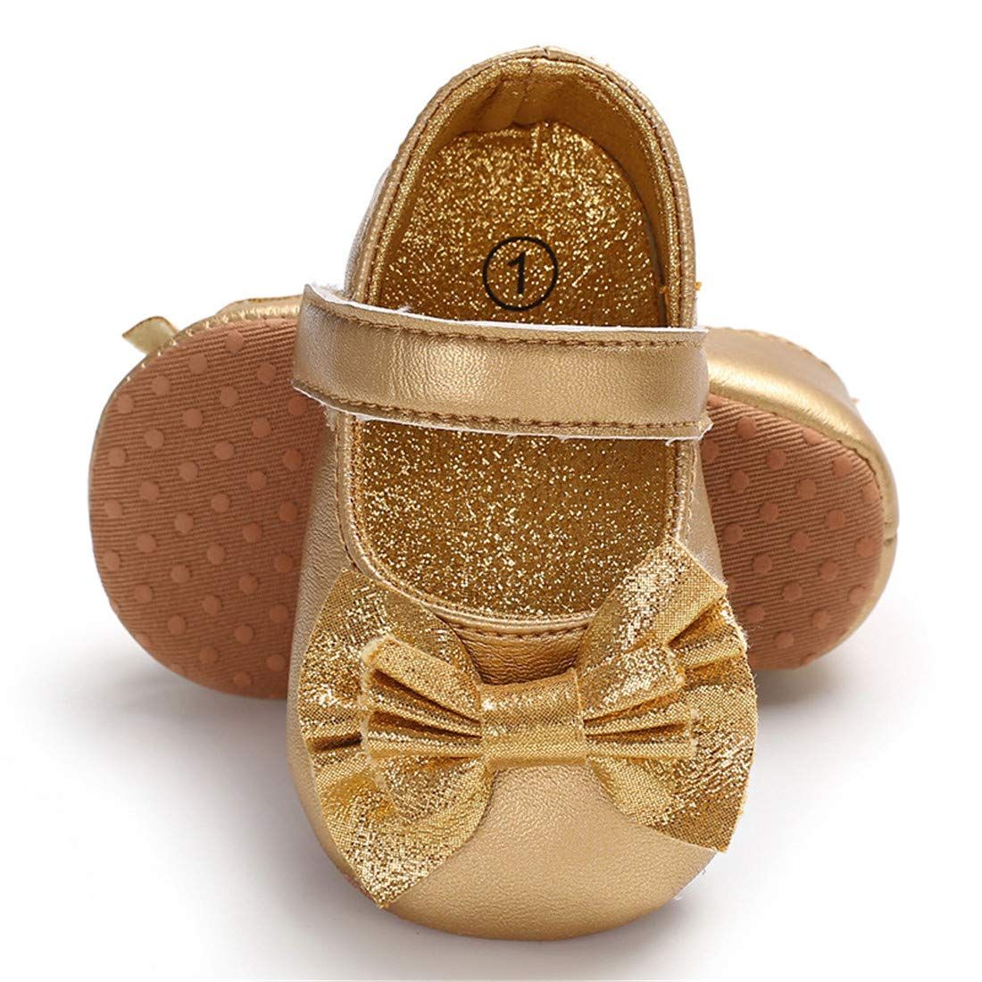 ENERCAKE Infant Baby Girls Shoes Non-Slip Bowknot Princess Dress Mary Jane Flats Toddler First Walker Baby Sneaker Shoes