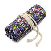 Color Pencil Roll Up Case 36 Hoop,Canvas Pencil Case Storage Pouch Organizer Colored Pencils Holder