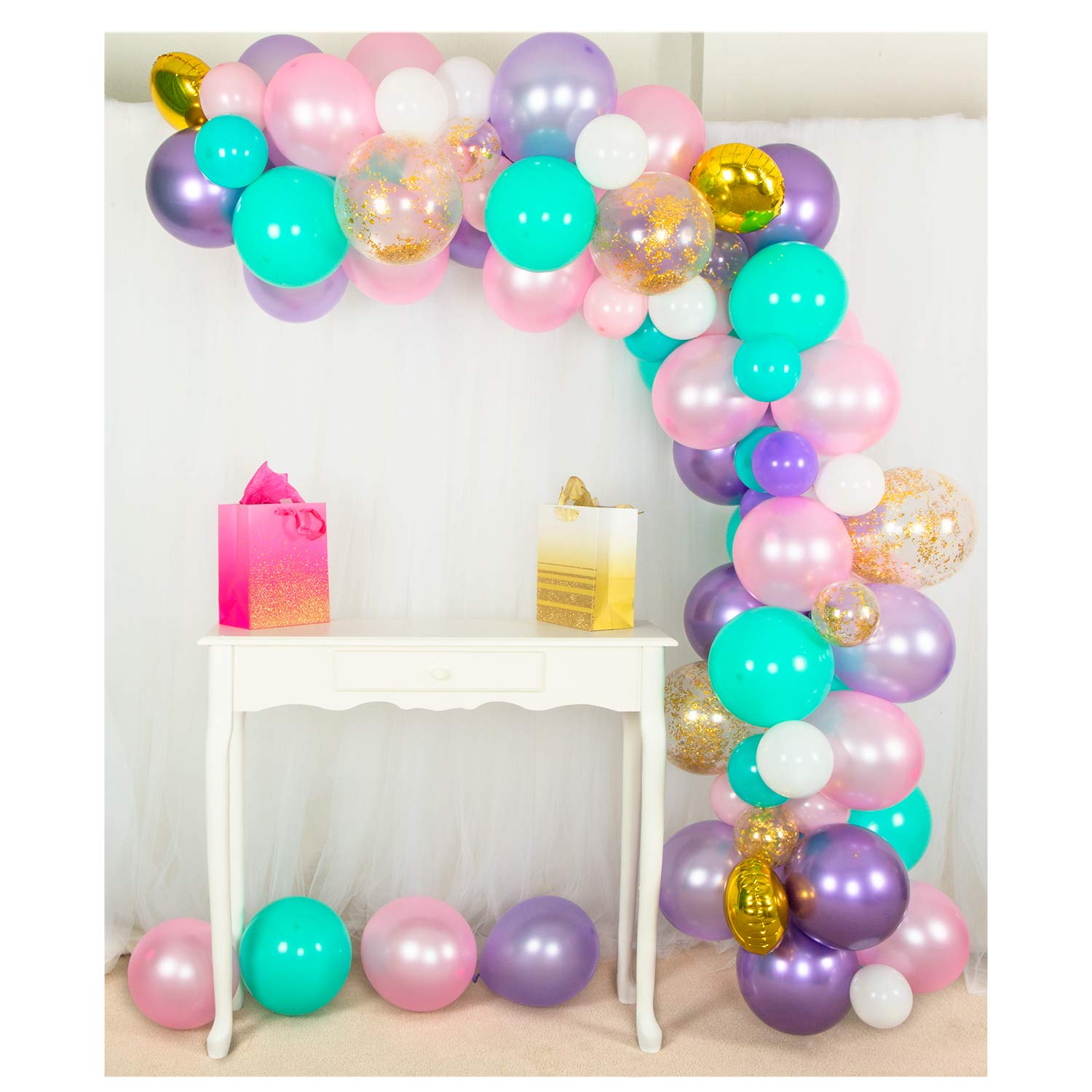 Shimmer and Confetti Premium 85 Pack Mermaid, Unicorn Balloon Arch and Garland Kit – Gold Confetti, Strip. Pearl and Chrome. Pink, Purple, White, Aqua. Unicorn Party Supplies for Birthdays & Baby Showers
