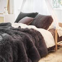 Uozzi Bedding Faux Fur Comforter Set Twin 3 Pieces - 1 Comforter Set and 2 Pillowcases, Ultra Soft and Easy Care Luxury Plush Shaggy Duvet Set (Dark Gray)