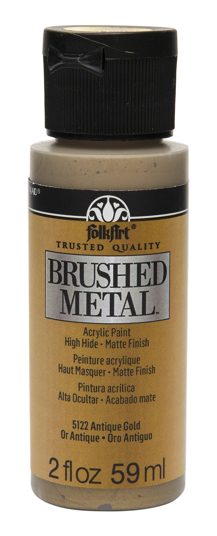 FolkArt Brushed Metal Paint in Assorted Colors (2 oz), Antique Gold