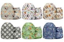 Mama Koala One Size Minky Baby Washable Reusable Pocket Cloth Diapers, 6 Pack with 6 One Size Microfiber Inserts (Cuddly & Wild)