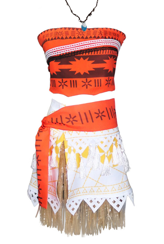 Angelaicos Natives Polynesian Princess Costume Dress Necklace for Adult Kids