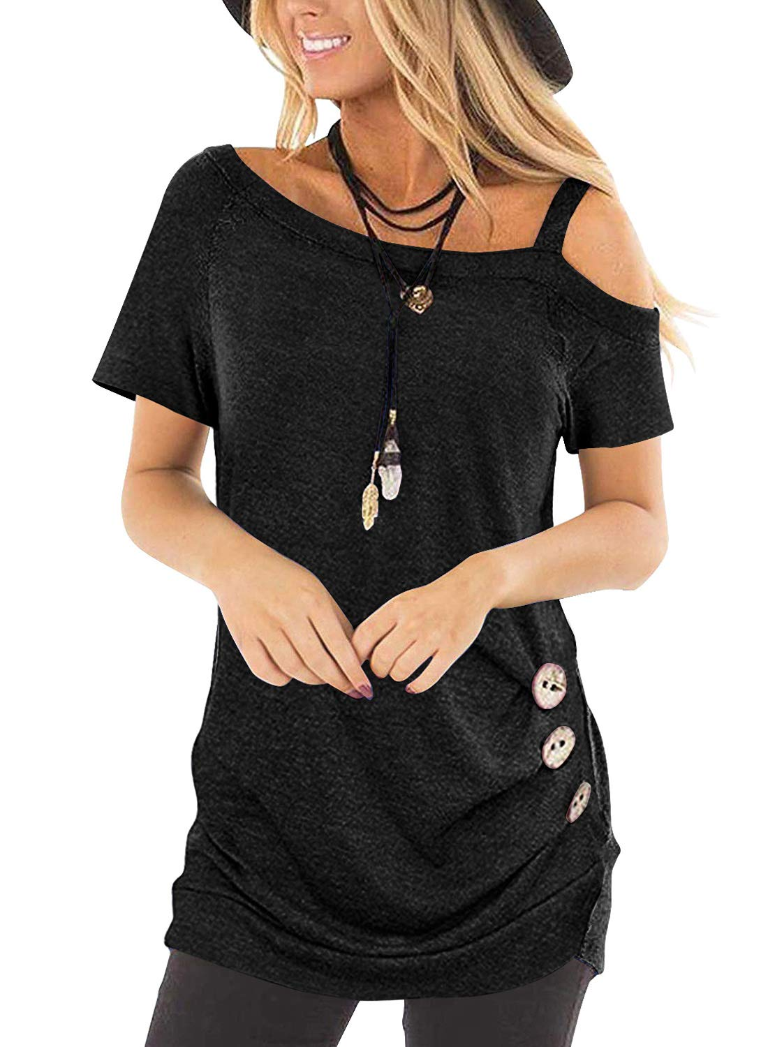 Chase Secret Womens Summer Casual Short Sleeve Cold Shoulder Side Button Tunic T Shirt Blouse Tops XL Black