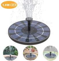 Maysurban Solar Water Fountain, 1.5W Solar Fountain Pump with Battery Backup, for Garden Decoration, Bird Bath, Pond, Fish Tank, Pool, Water Cycling