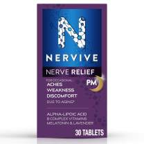 Nervive Nerve Relief PM, for Nerve Aches, Weakness, & Discomfort in Fingers, Toes, Hands, & Feet*†, Alpha Lipoic Acid ALA, Vitamin B1, Vitamin B6, Melatonin, Chamomile, Lavender, 30-Day Tablet Supply